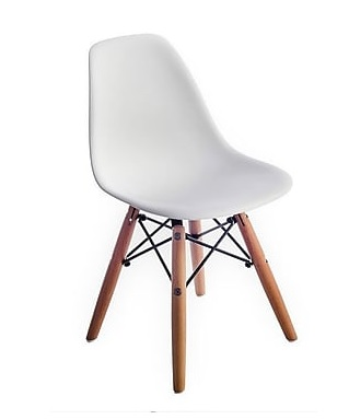 "WHITE EAMES CHAIR  Width 12.25"" Depth 19.8"" Height 22.75"" Seat Height 13"""
