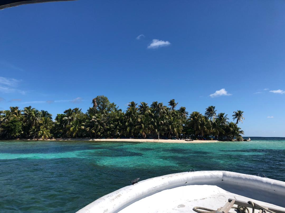 Our first view of Ranguana Caye from the boat.