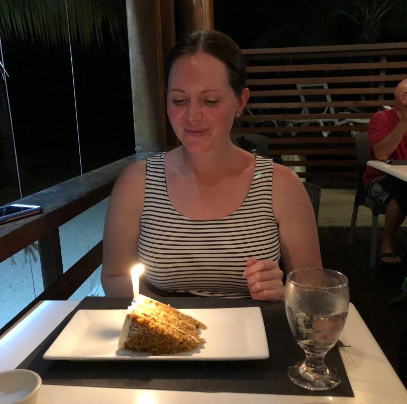 There is something magical about spending your birthday on a beautiful tropical beach with the man you adore. Between the warm salty breeze, the view of the colorful sunset over the water, and the delicious carrot cake it was perfect!