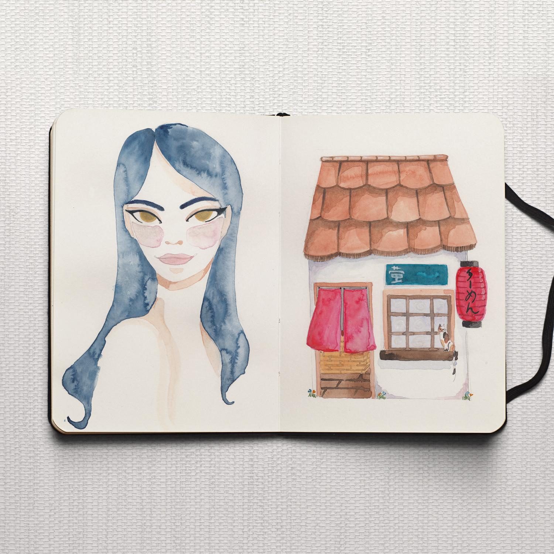 Studio Maarit - Sketchbook - Fashion & Japanese Restaurant - Watercolour