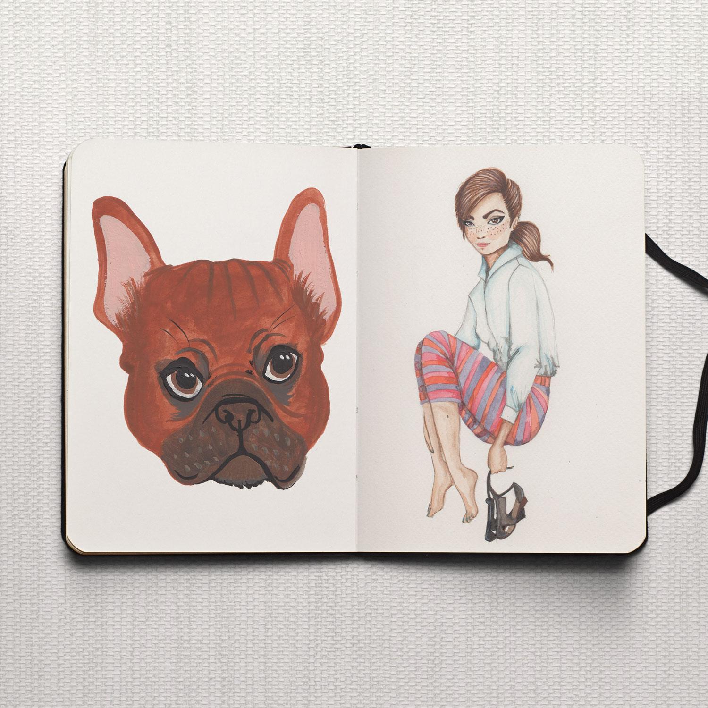 Studio Maarit - Sketchbook -  French Bull Dog, Fashion  - Watercolour