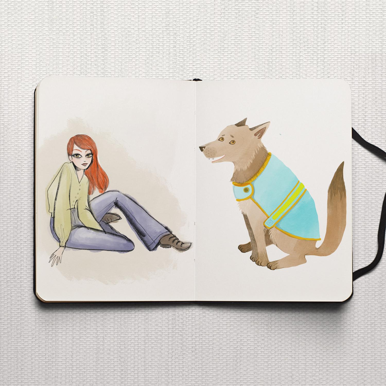 Studio Maarit - Sketchbook -  Redhead and Dog in coat