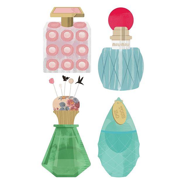 Added a few more bottles to the collection. #illustration #illustratorsoninstagram #perfume #beautyillustration #meganthomasillustration #studiomaarit #art #design #wip #doodles