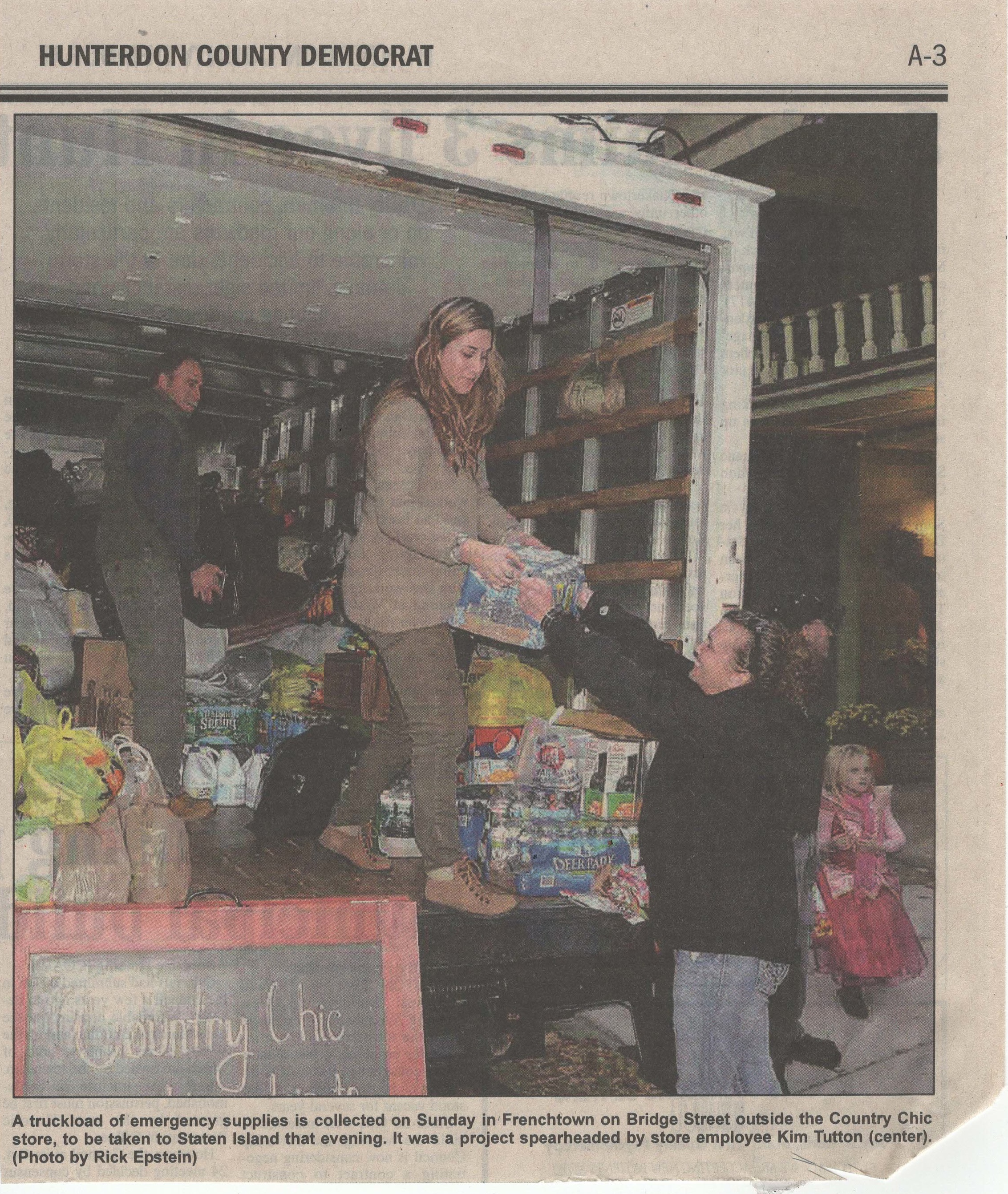 2012- Hunterdon County Democrat - Hurricane Sandy Relief Donation Drive at Country Chic