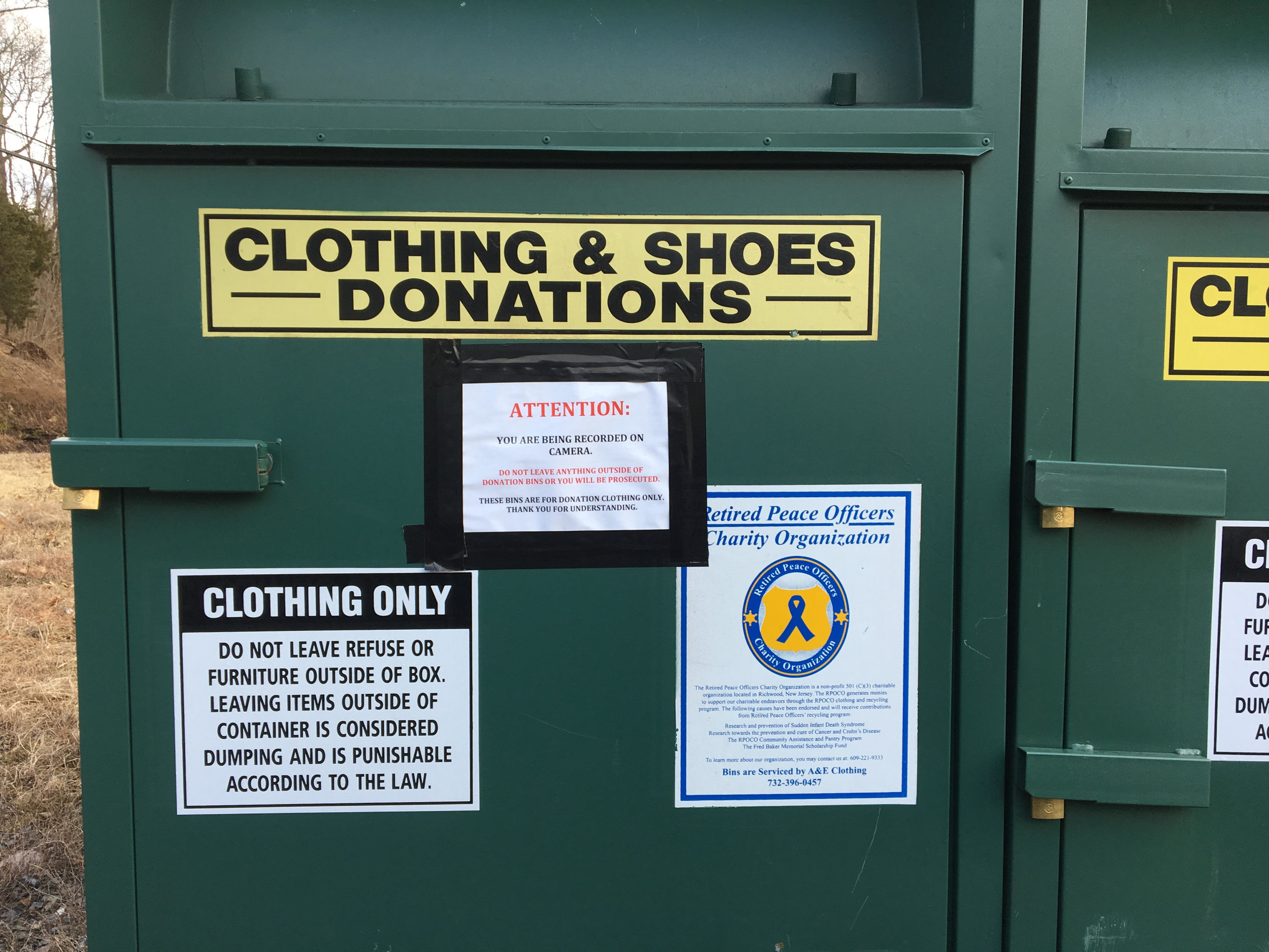 Retired Peace Officers Charity Organization   This box can be located at the far end of the parking lot of 4Ever Fitness  784 Frenchtown Rd  Milford, NJ 08848