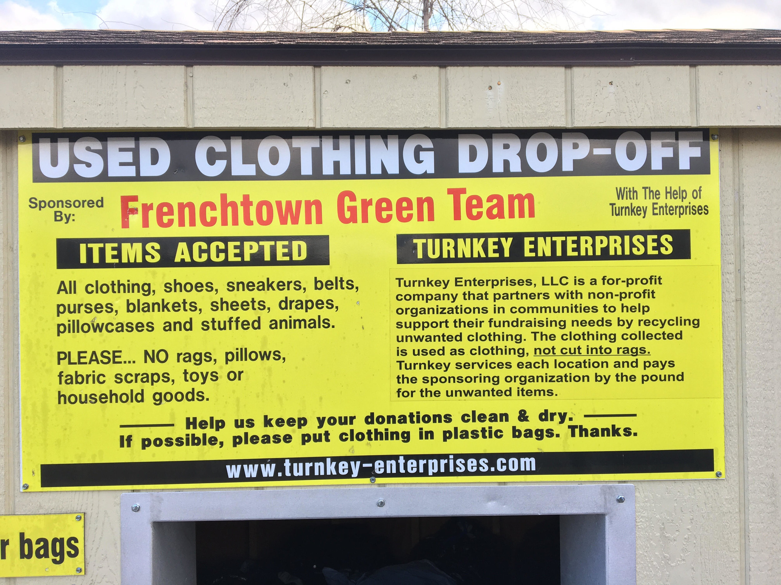 This donation box can be located in the back lot across from the Frenchtown Elementary School  902 Harrison St, Frenchtown, NJ 08825