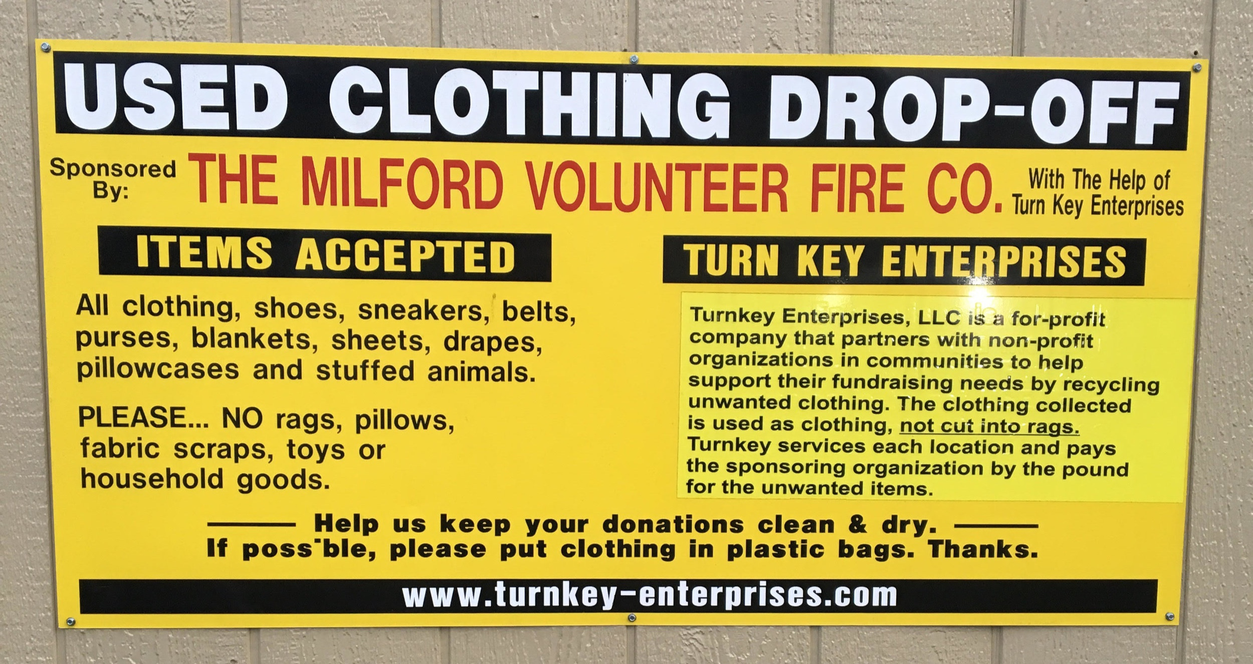Benefits the  Milford Volunteer Fire Company   This drop box can be located at the far end of the parking lot that is along side the firehouse  21 Water Street  Milford, NJ 08848