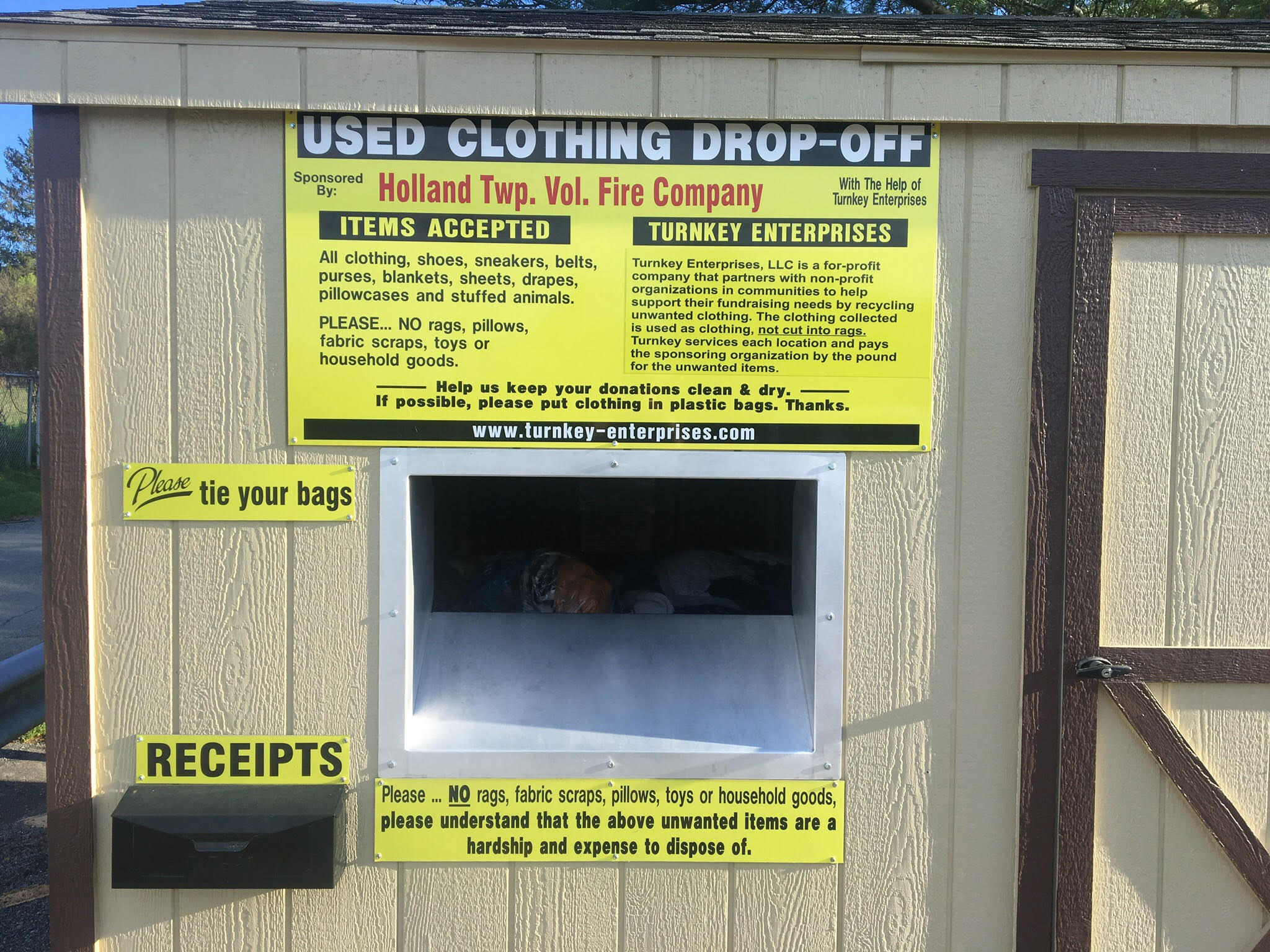 This box is located in the parking lot of the Holland Township Free Public Library and it benefits the Holland Township Volunteer Fire Company.   129 Spring Mills Rd, Milford, NJ 08848