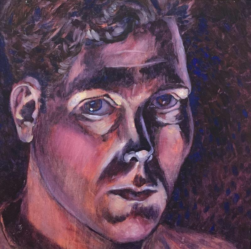 "Pensive, a self-portrait  , Oil on panel (14"" x 14"")"