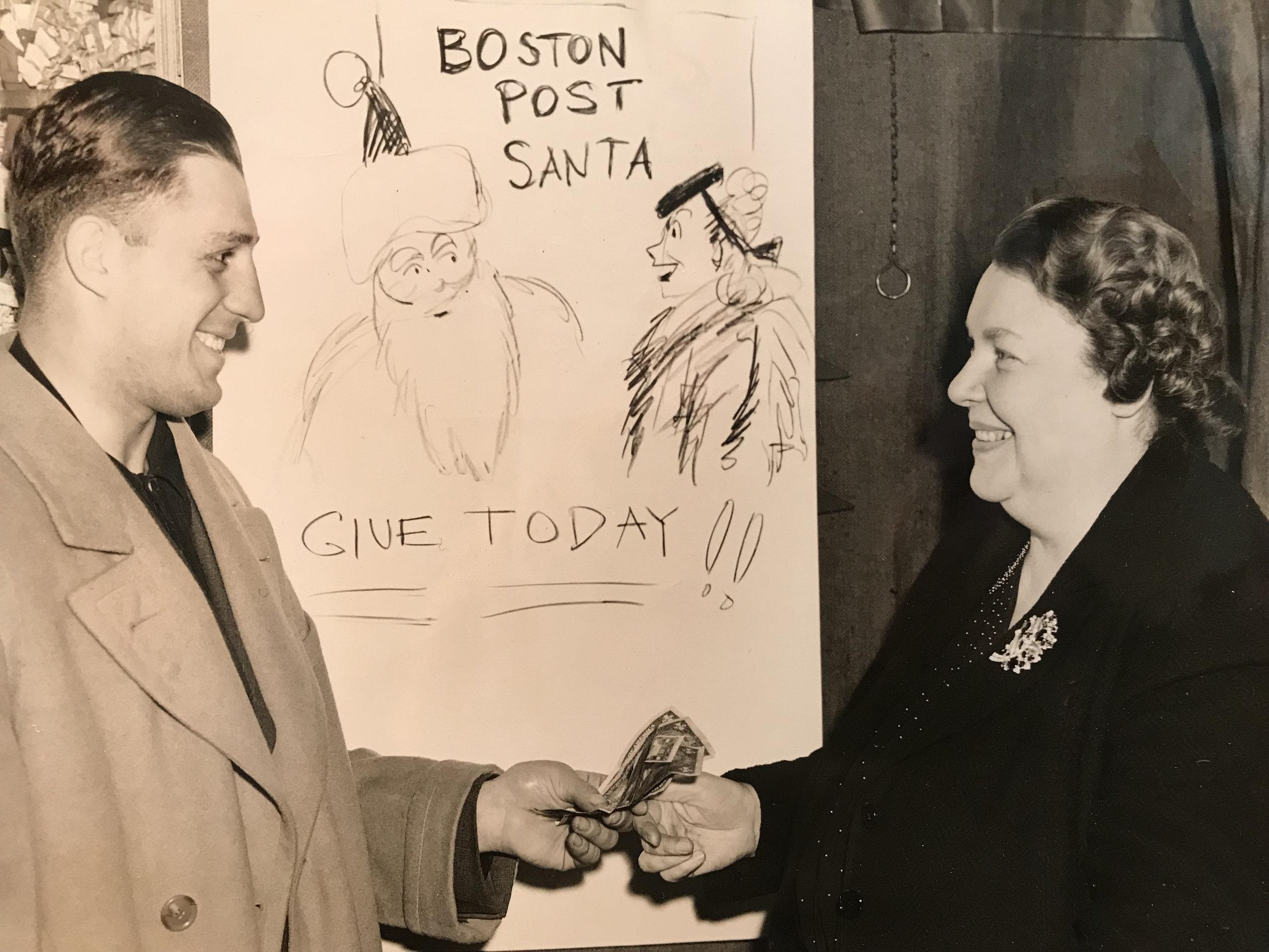 Edith Stevens participating in Boston Post Santa. Circa 1940s