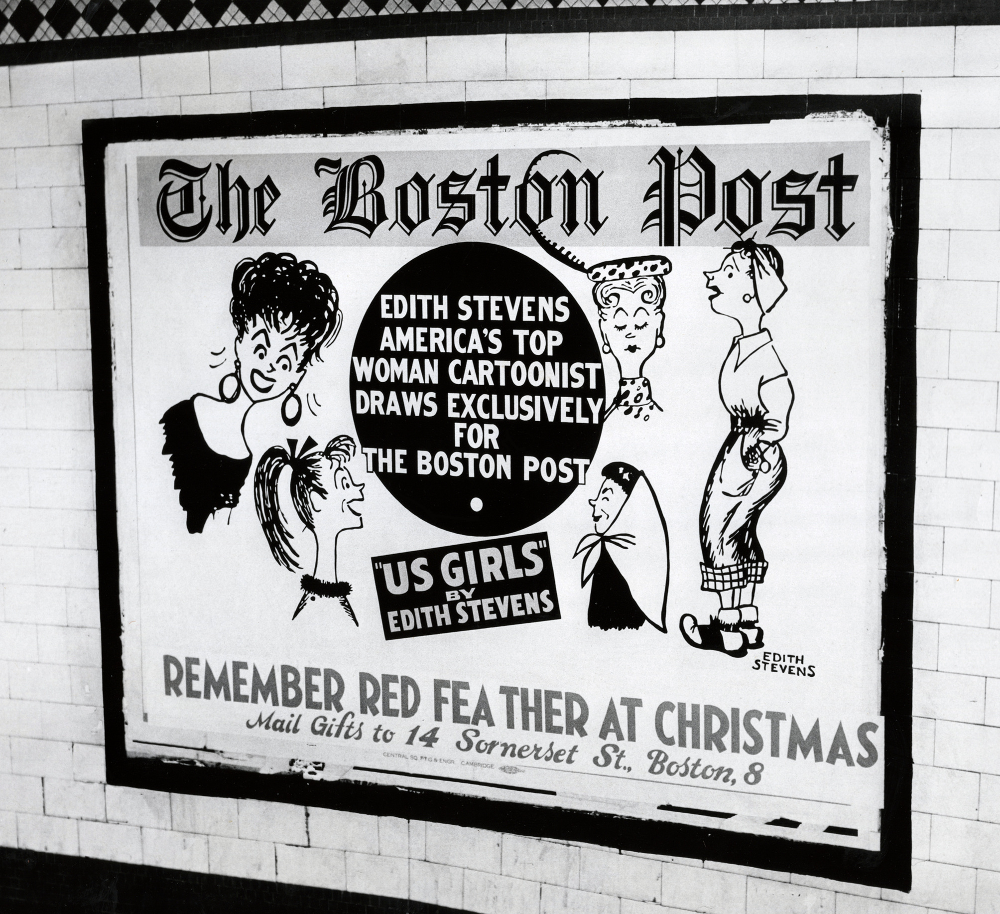 Us Girls by Edith Stevens billboard at Park Street Station in Boston, MA. 1953