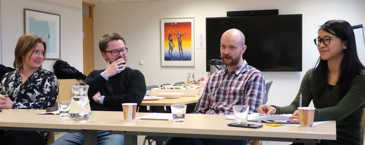 Life after a PhD in the humanities: Jobs beyond the academy . From left to right: Anette Storli Andersen, Bjørn Ivar Fyksen, Anders Vaa, and Julianne Yang.