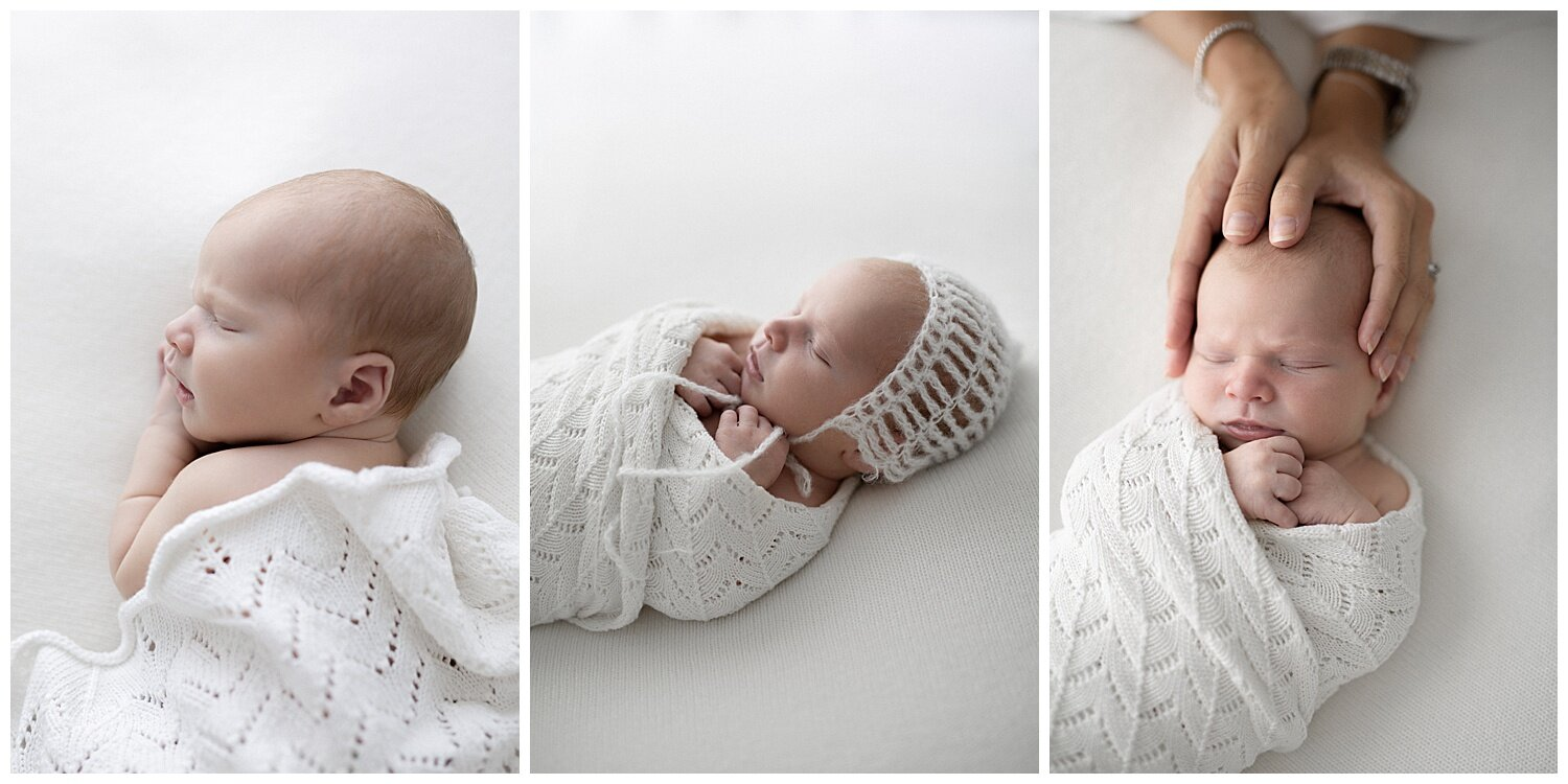 light coloured clothing and minimal props/accessories keep the focus on baby