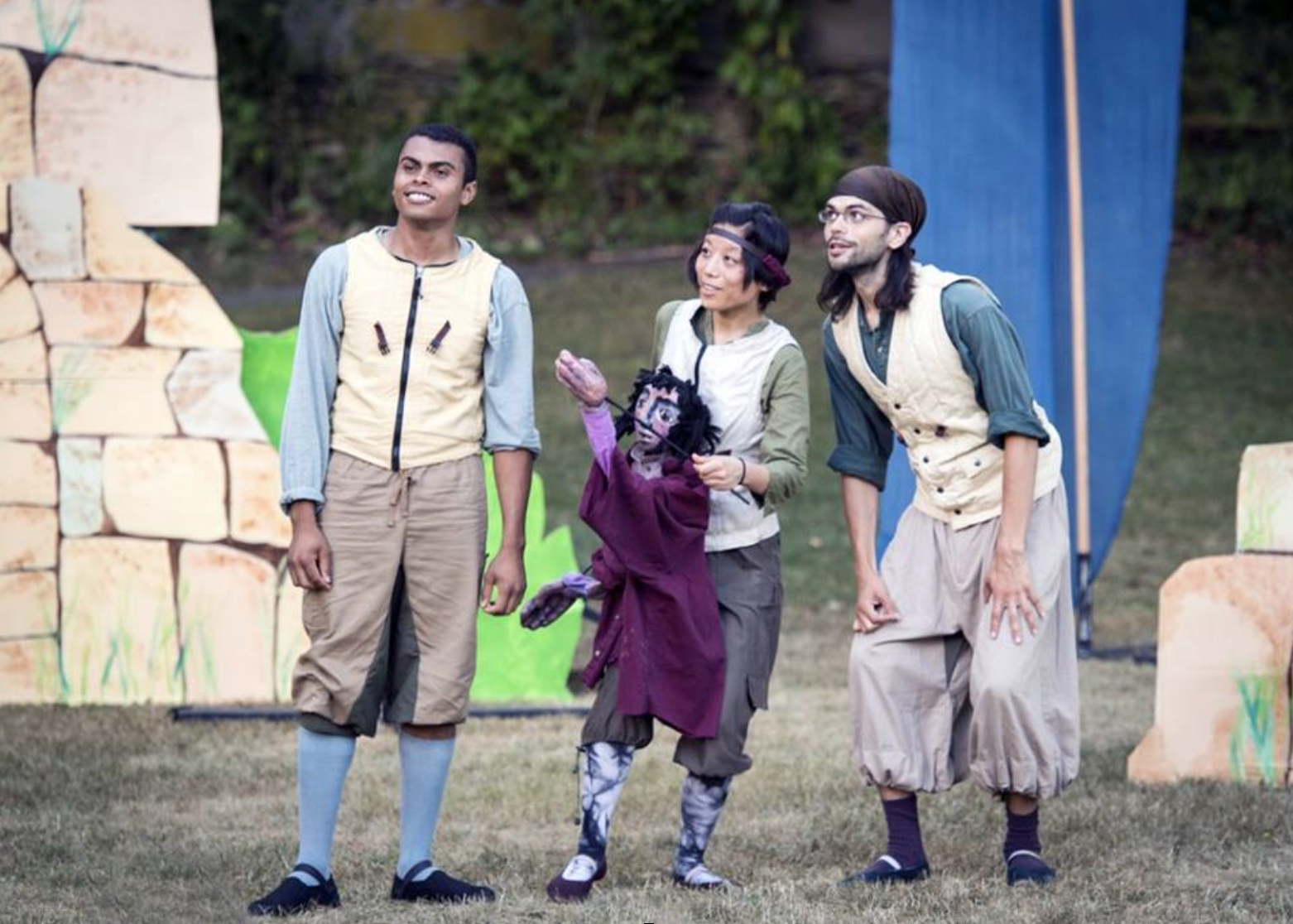 After visiting Chiemgau in 2015 I was inspired to produce Michael Ende's famous children's story Momo. This is a photo from a performance on the village green in Philmont, NY, part of a tour during the summer of 2016. From left to right are Michael Balin, Nao Kobayashi, and Gabriel Rodriguez. Nao is playing Momo.