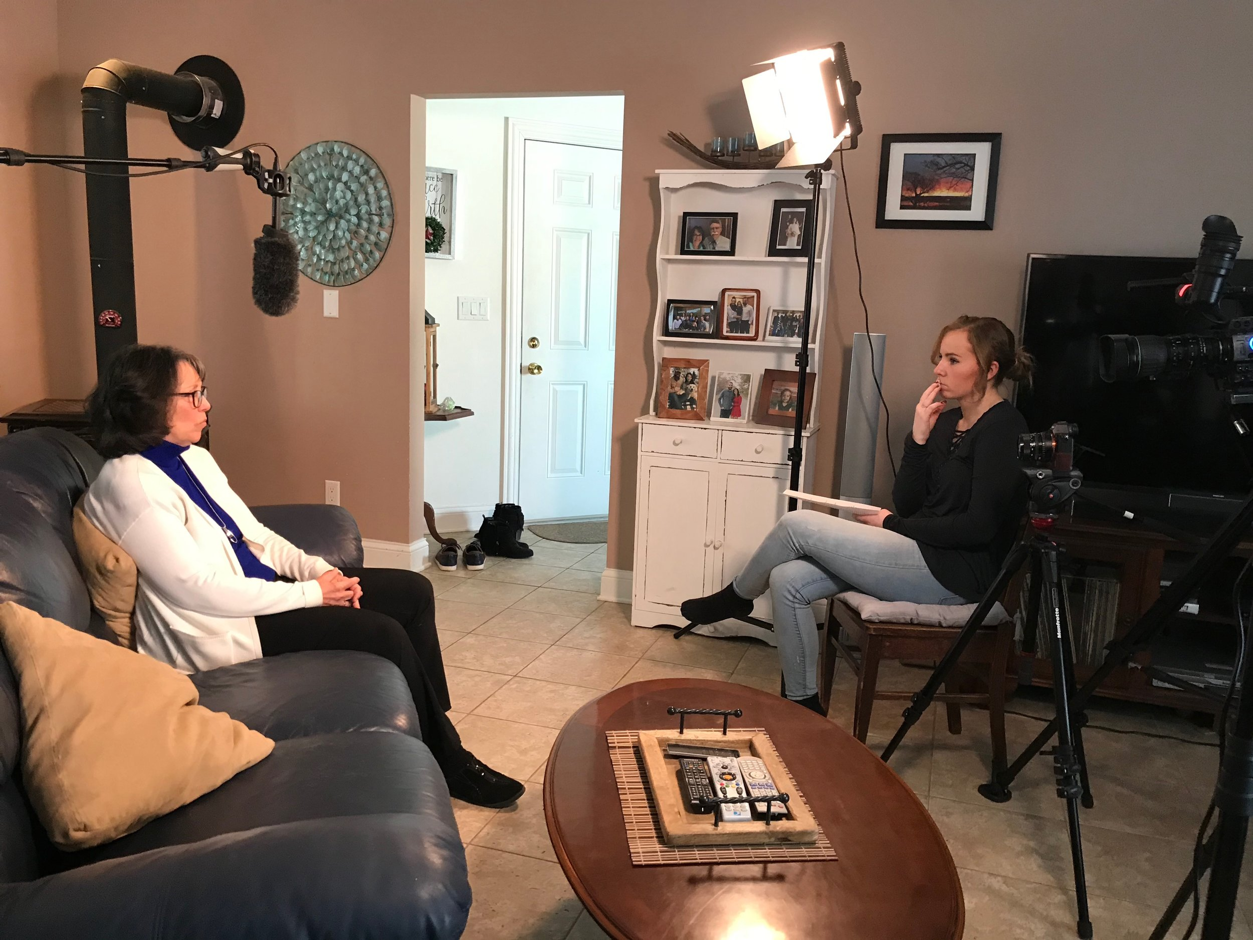Madison interviewing Julie Barnd.