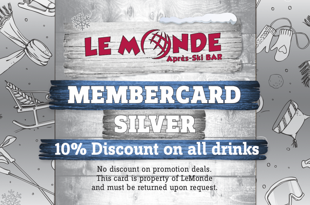 Silvercard - With discount card you will receive 10% discount on each drink.