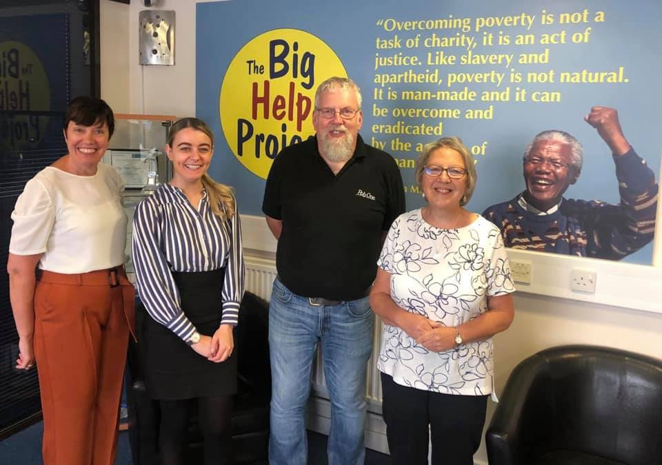 From left to right: Michele Duckworth, Fundraiser at The Big Help Project, Jennifer Calvert and Steve Grice of Poly One's Charity Committee and Sue Torpey, Foodbank Manager & Assistant CEO