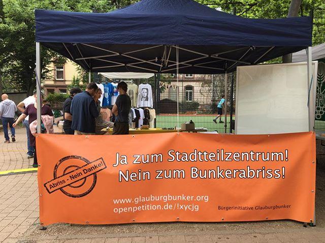 Glauburgplatzfest 2019 - unser Infostand im Aufbau