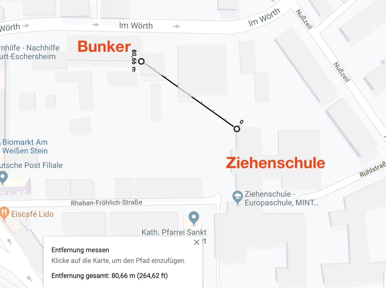 Entfernung Bunker Im Wörth zur Ziehenschule: 80,7 m