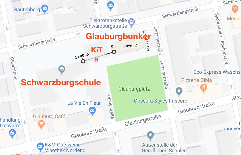 Entfernung Schwarzburgschule, KiTa und Glauburgbunker.