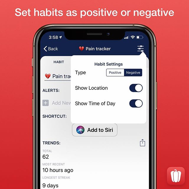 You can now set a habit as positive or negative when creating one or afterwards in a habit's settings. This is useful for new Trend data and sharing progress, as a streak or break is automatically shown first depending on the type of habit. — #CapsicumApp #BreakingHabits #Habits #HabitProgress #HabitTracker #HabitTracking #iOSApp #MakingHabits #NegativeHabits #PositiveHabits