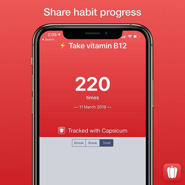 "You can now share habit progress. Tap the Share button on a habit's detail next to the Trends heading (it looks like a square with an arrow coming out of it). Then, choose whether you want to share a streak, break or total times you've done a habit. Tap the ""More"" button below that to share to a social platform of your choice or save to your Camera Roll. It's in square format which is perfect for Instagram (except when you share directly to Instagram Stories, then it is a rectangle sticker you can move around). — #CapsicumApp #BreakingHabits #Habits #HabitProgress #HabitTracker #HabitTracking #iOSApp #MakingHabits #NegativeHabits #PositiveHabits"