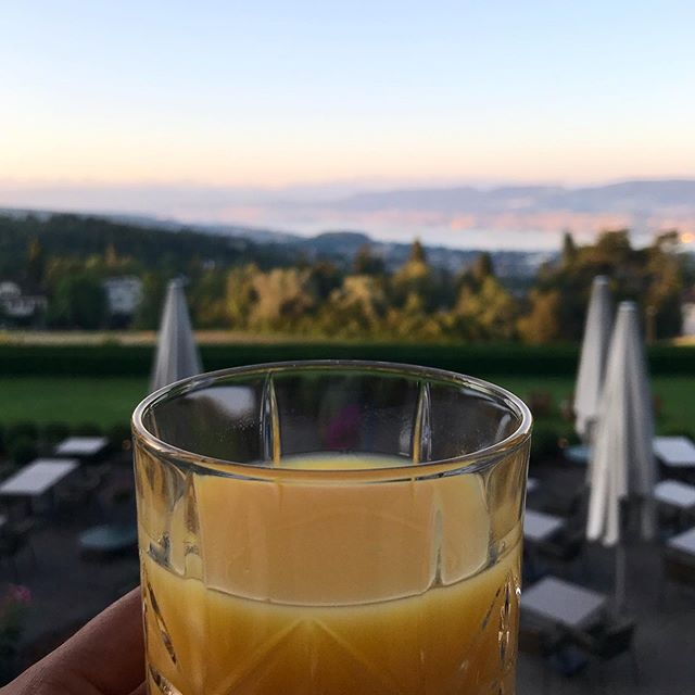 good morning, new week. ☀️🍊 . #sorellhotelzürichberg #zürichberg :breakfastwithaviwe #barwithaview #allfortheguests #welcometoourhotel #zürich #switzerland #swisshotels #orangejuice #goals #travel #inspo