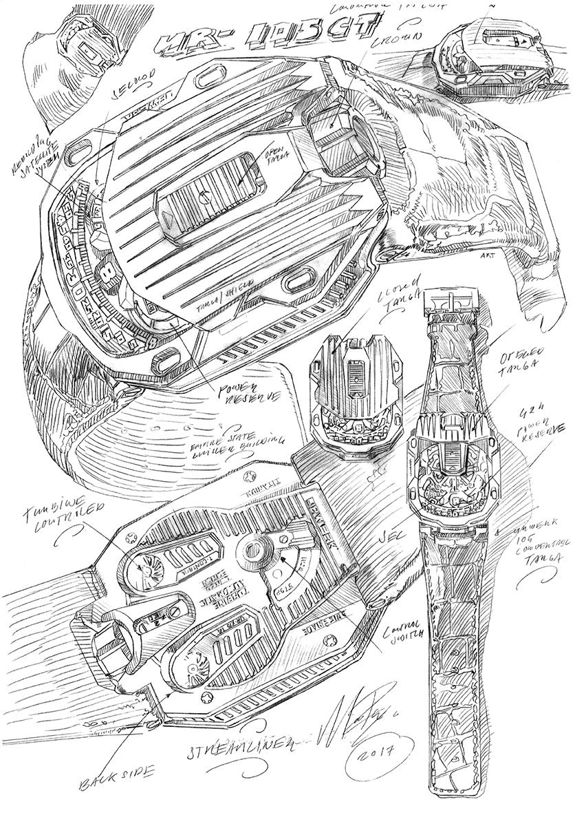 Aquí se pueden observar los primeros diseños del Urwerk Ur-105 CT