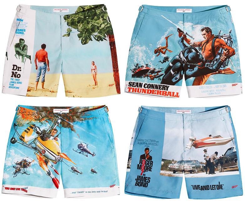 Colección capsula de bañadores modelo Bulldog con las carátulas de películas de James Bond