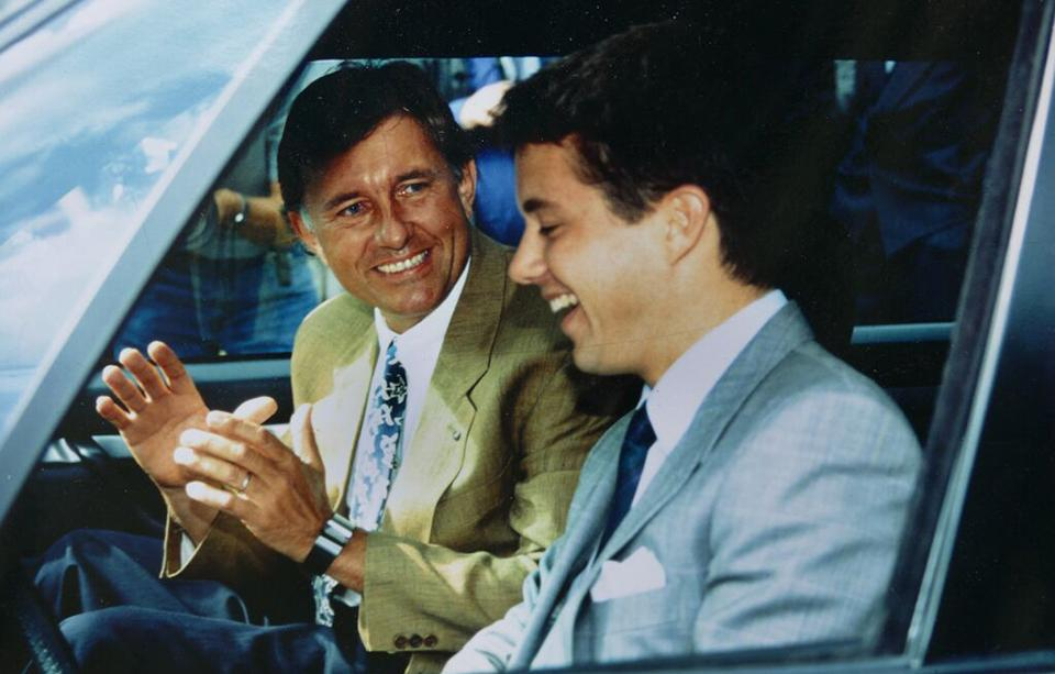 "Max René and his Royal Highness, Crown Prince Frederik of Denmark, at the launch of the futuristic car project named ""Jensen One by Max René"" in 1992."