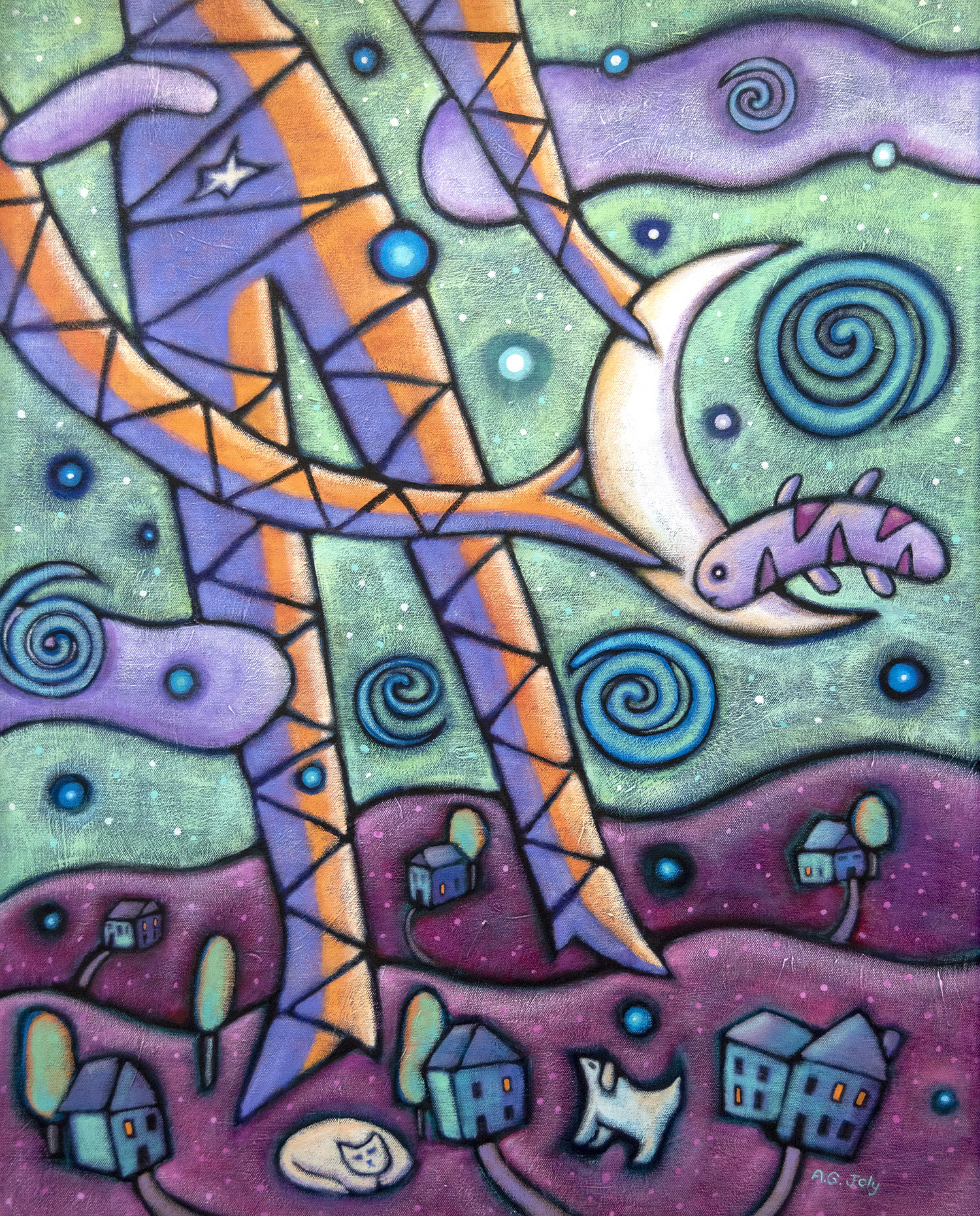 Moon Catcher , acrylic on canvas