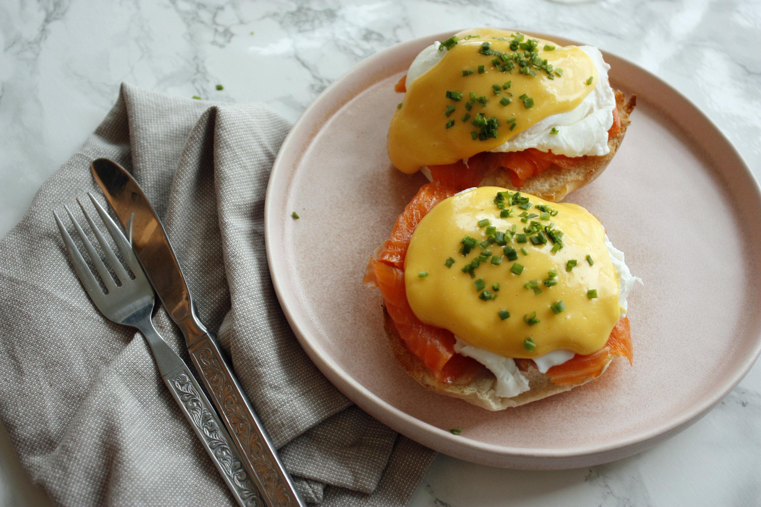 Eggs royale with hollandaise sauce