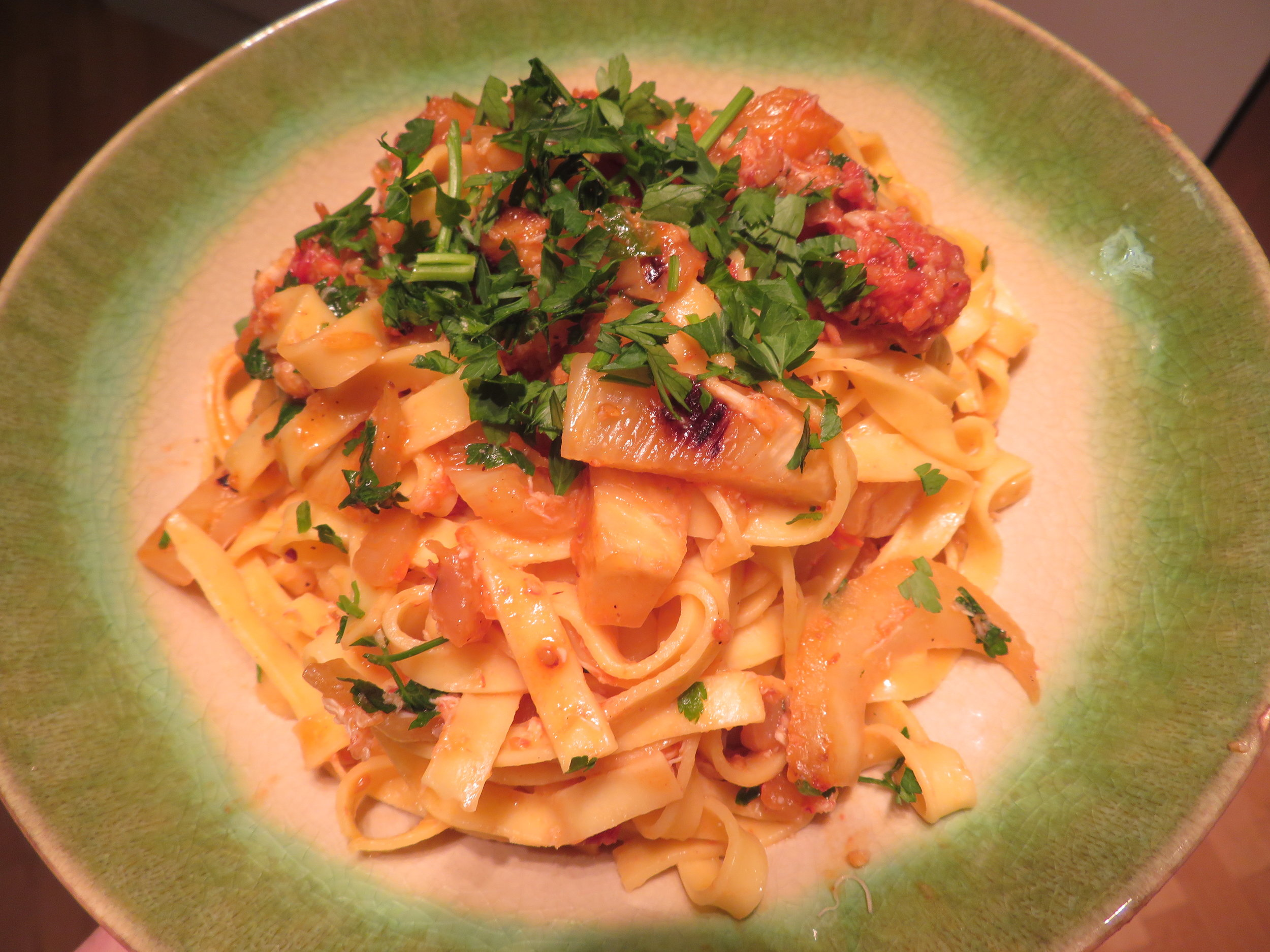 Crab, fennel and chorizo pappardelle