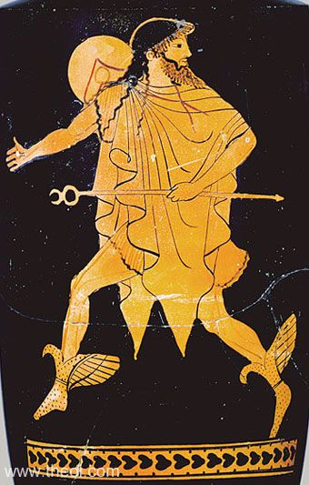 Hermes, messenger of the gods, flies on winged boots. He holds his kerykeion or herald's wand in hand, and wears a petasos (traveller's cap) and chlamys (cloak).