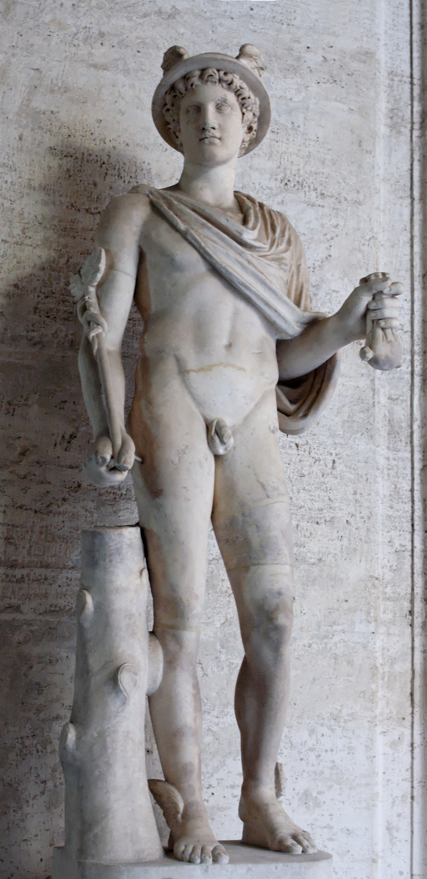 Statue of Hermes. Marble, Roman copy after a Greek original of the early 4th century BC.