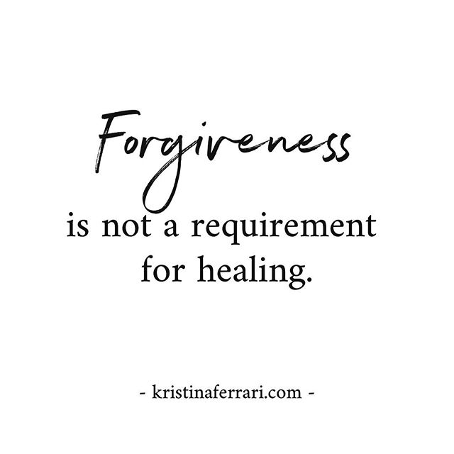 To be clear, and because I anticipate some pushback on this one, I am not anti forgiveness.Forgiveness can be an important part of ones healing, but it doesn't HAVE to be.It's not a necessary component.It's one path; it's not the only path. .  Forgiveness is also, definitionally, open to interpretation.There's the simple view of ceasing to be angry or resentful, there's the more complex perspective involving drinking poison and expecting the other person to die, and then there's the perhaps more broad and accessible perspective that espouses freedom from the hope that things could have been any different.Any of these definitions are appropriate, if they're appropriate for you and for your unique situation.But the notion that we HAVE to forgive, that we aren't healed or healing if we don't is simply bullsh*t.It's just not true. .  Forgiveness is a choice.You can choose not to forgive and also choose wholeness and health and emotional fortitude and change and acceptance and vitality and engagement and joy.You, the person who was harmed in real and deep and profound and perhaps even irreversible ways, gets to decide if forgiveness is an important part of your own growth or not.Either can be a healthy path.Either can hold you back from the healing you deserve.  It's not whether or not you forgive that matters, it's whether or not you choose it freely.Because when it comes to trauma and abuse, choice is the thing that was taken from you.And choice is what you rightly deserve to take back. . . . . . #posttraumaticgrowth #healing #abuse #childhoodabuse #trauma #depression #healing #mentalhealthawareness #ptsd #anxiety #recovery #cptsd #therapy #gaslighting #domesticviolence #psychologicalabuse #toxicpeople #crazymaking #sexualabuse #emotionalabuse #psychology #selflove #verbalabuse #selfcare #forgiveness #traumarecovery #philly #childabuse #recovery #forgiveness