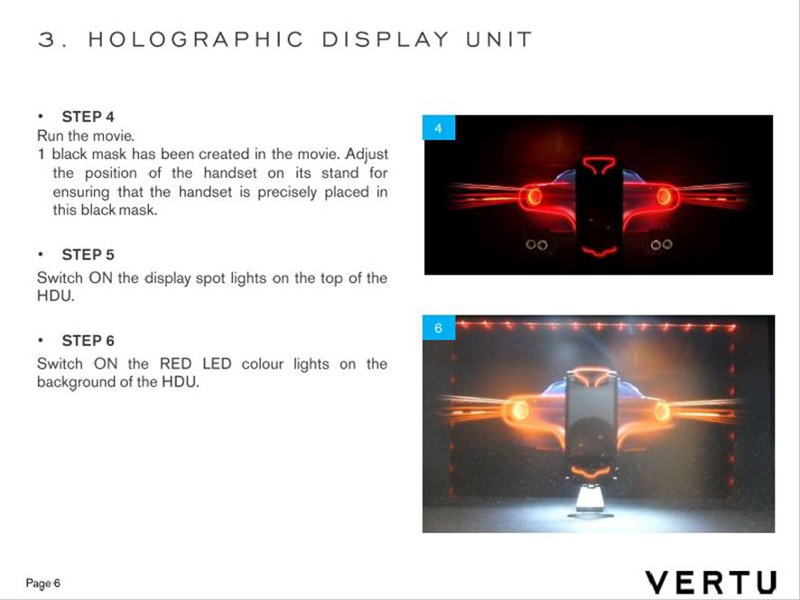 Vertu Ti Ferrari . holographic display unit guideline . worldwide