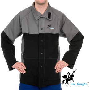 The    Arc Knight® Jacket    is made of durable, heavyweight cotton with leather reinforcements where it matters.