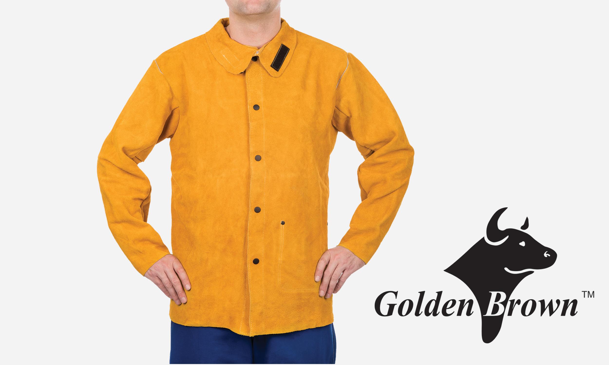 golden brown leather welding jacket