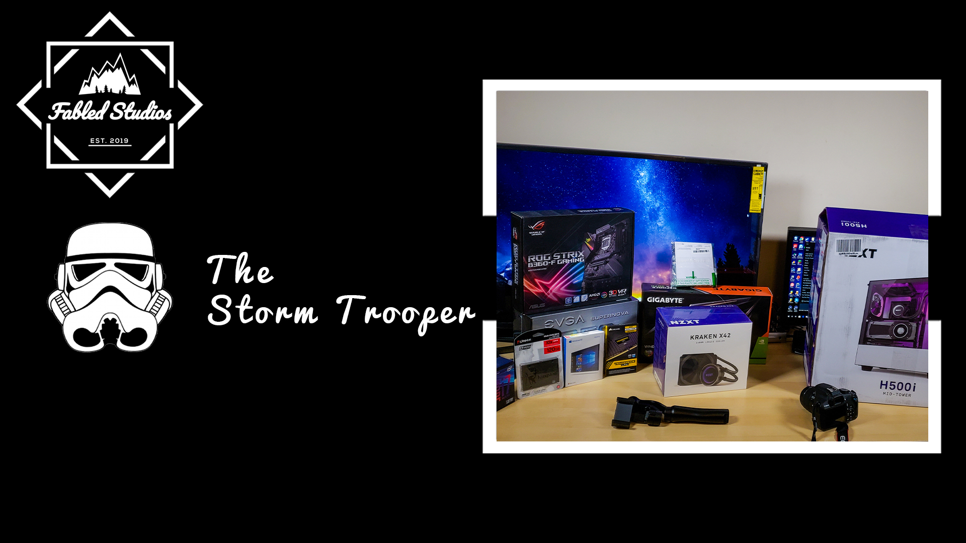 The Storm Trooper - This computer was built one month ago! Specifically made for gaming and animation in mind!Inside this beauty, a 8th Gen i7, Kraken CPU Cooler, RTX 2070, 16 GB of DDR4 Corsair Vengeance Ram, ASUS ROG STRIX MB, 1TB HDD, 128GB SSD, 750W PSU, Windows 10, all inside a NZXT H500i Case!