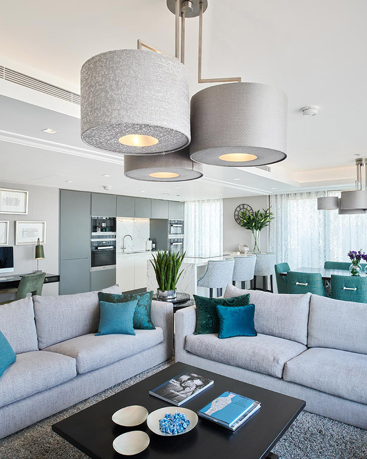 - Drawing on the sophistication of the London skyline and the spectacular view, Clare used a cool grey base palette and an infusion of green and blue hues, bringing energy to this waterside property.