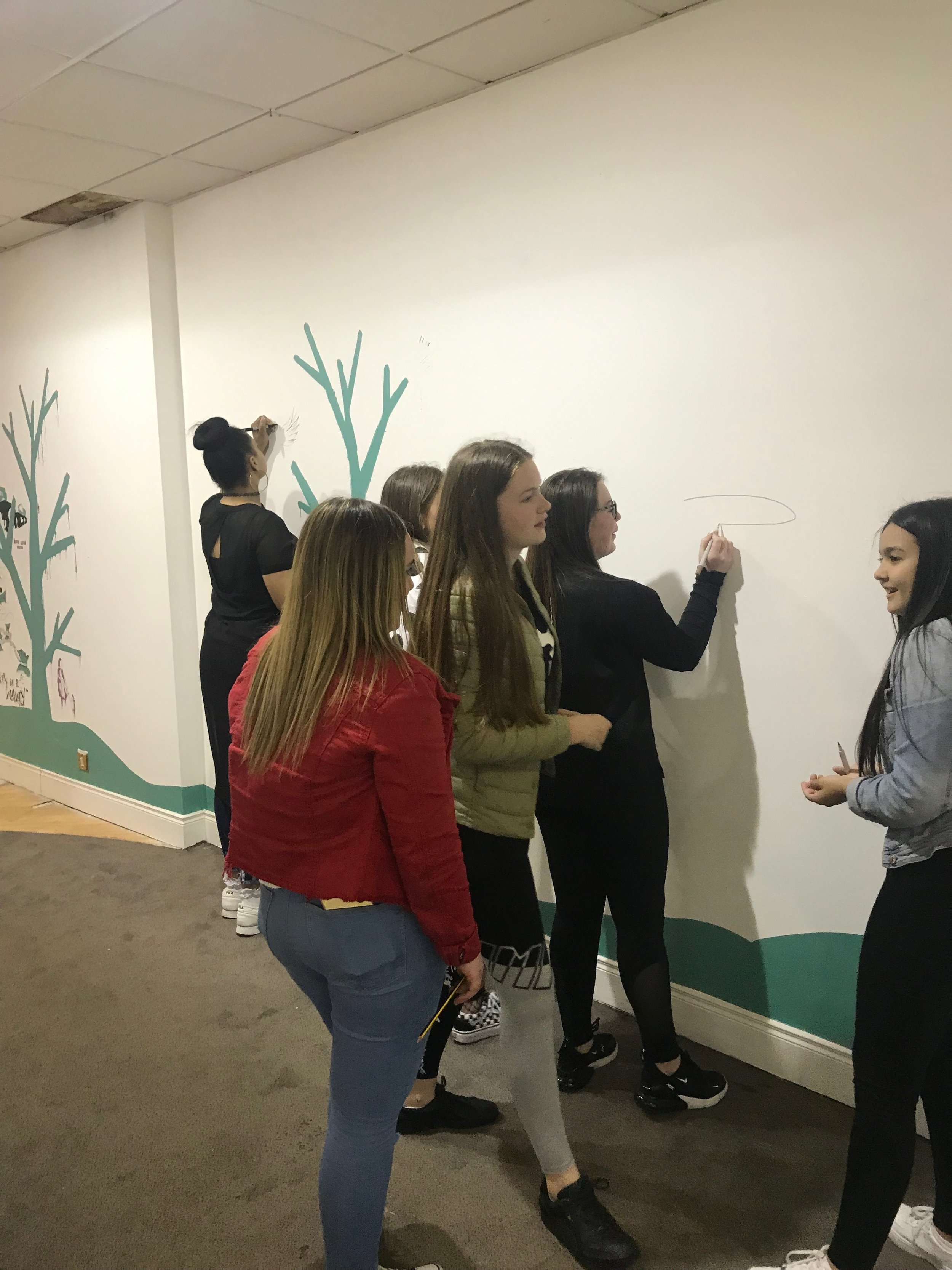 Illustrating on the wall