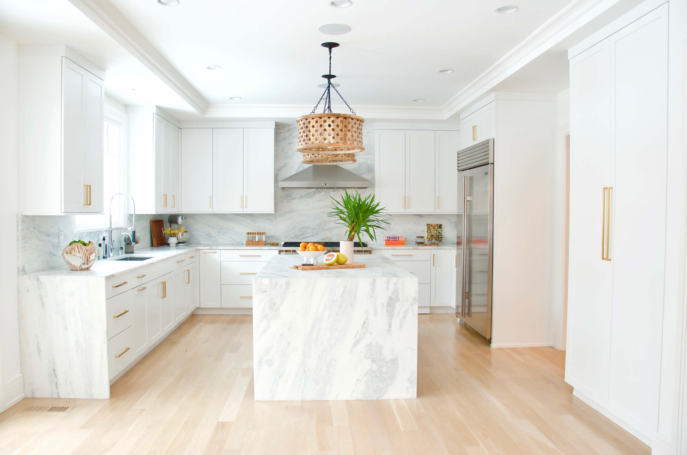 White Brass and Marble Kitchen