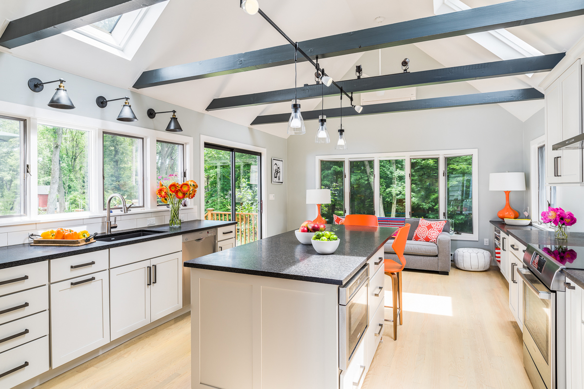 Simple Kitchen with Black Countertops