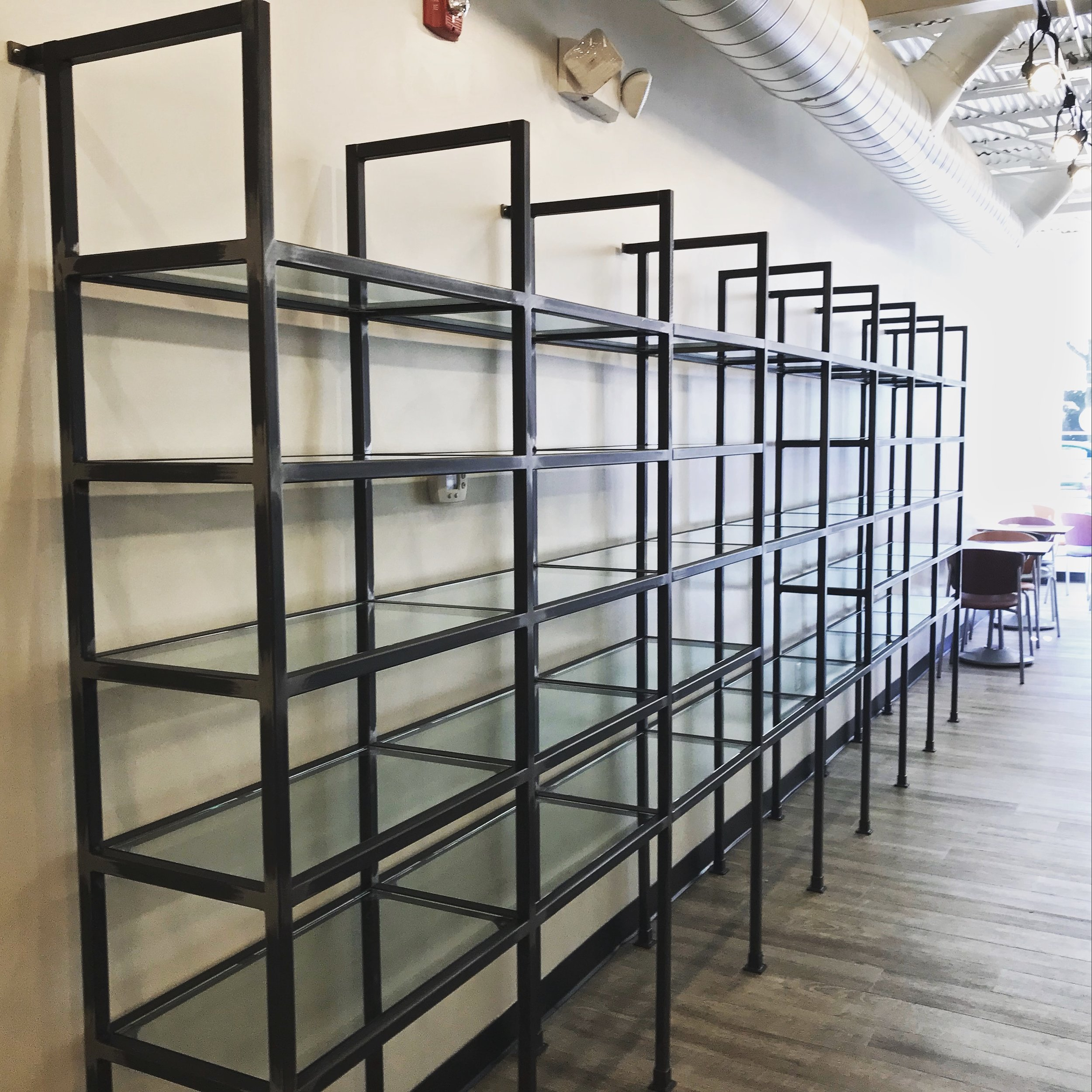 Custom Metal/Glass Shelving Designed by elizabeth barrett design for Birmingham Chocolates