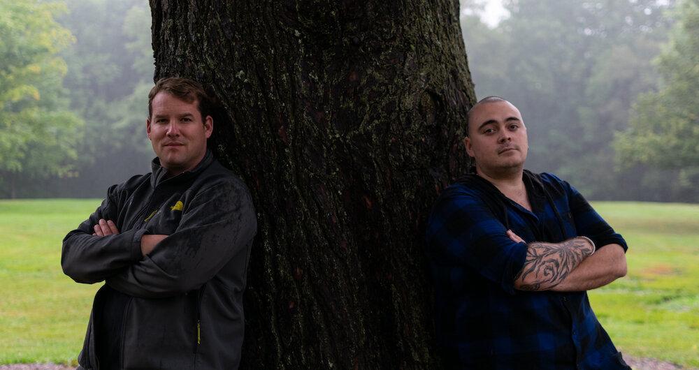 Woodcarvers Timothy Bjorn Jones and Justin Sappier