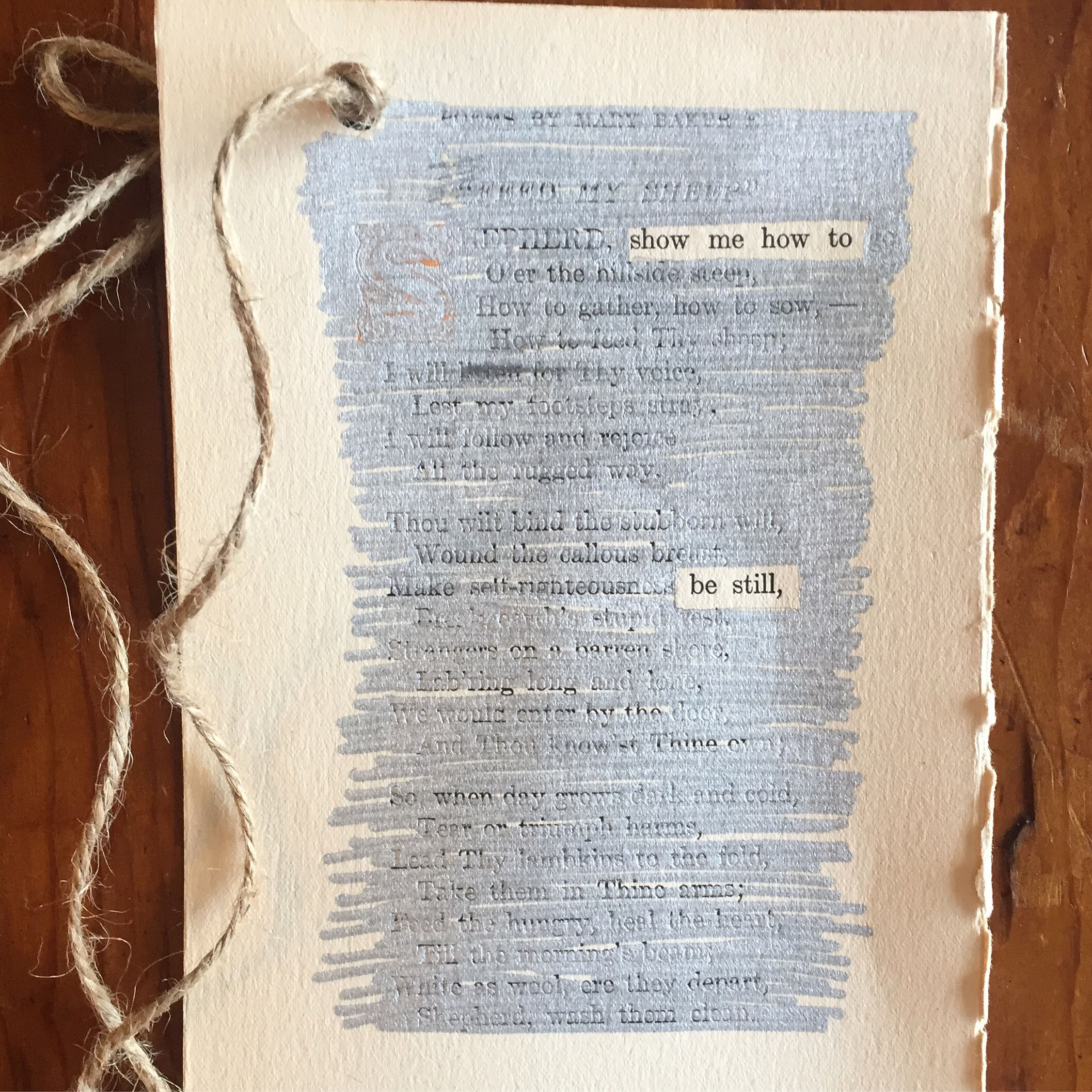 Be Still, an erasure poem by Drew Myron