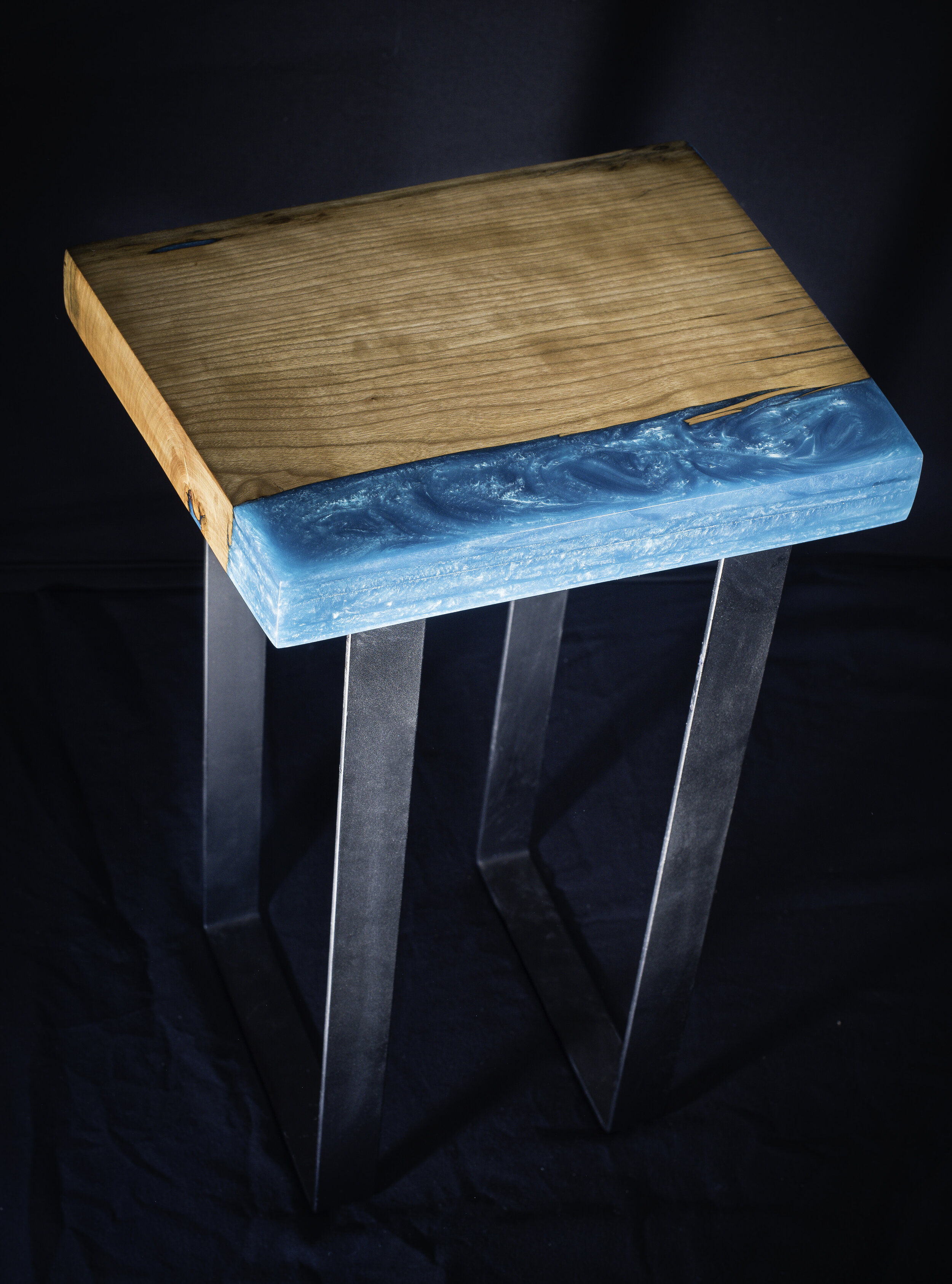 Cherry and Epoxy End Table