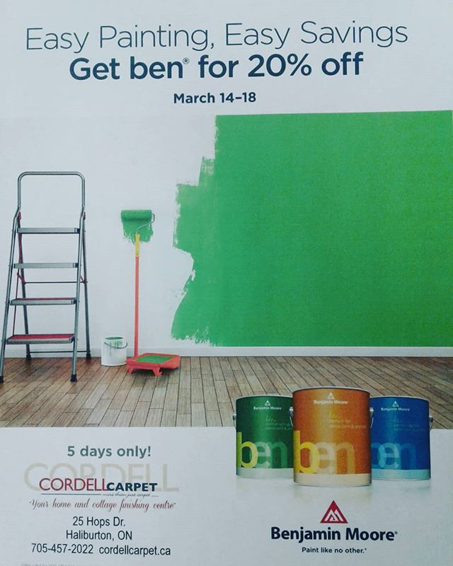 It's Here!! Benjamin Moore Ben Gallons are on Sale! 20% OFF!! Visit Cordell's for more information.