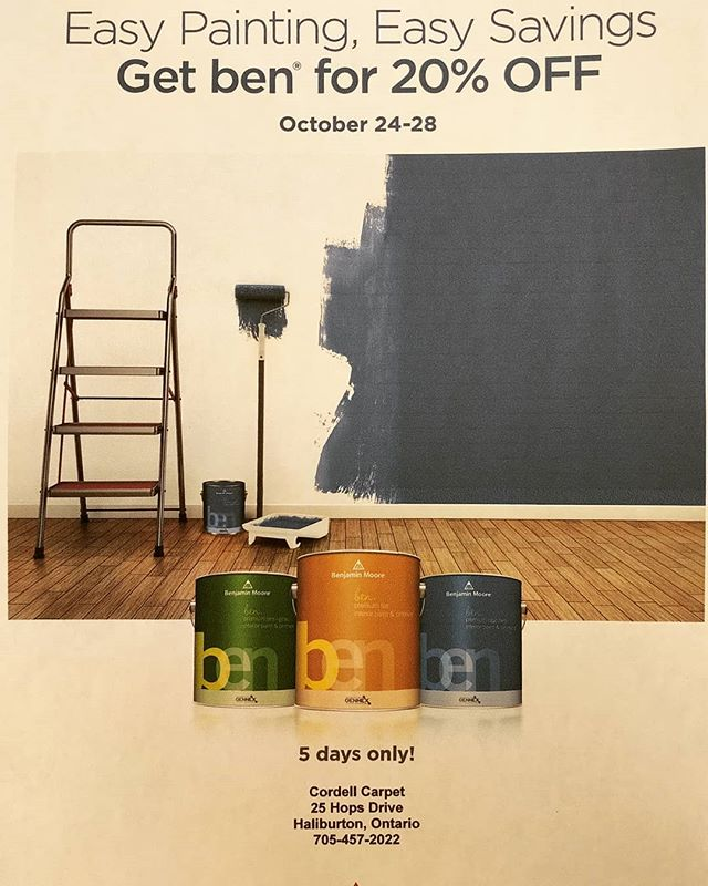 Don't Forget to Stop in For the Benjamin Moore Ben Sale. On Now Until Monday! #benjaminmoorepaint